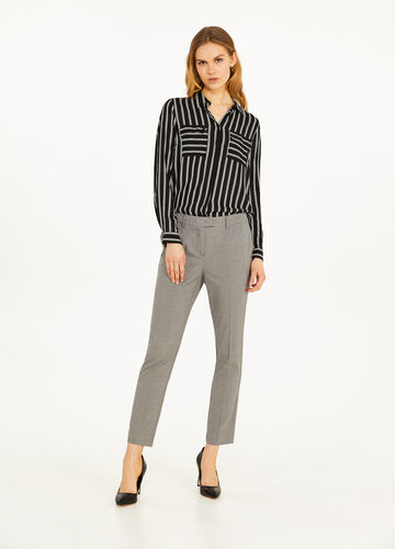 Elegant trousers with micro hounds' tooth pattern