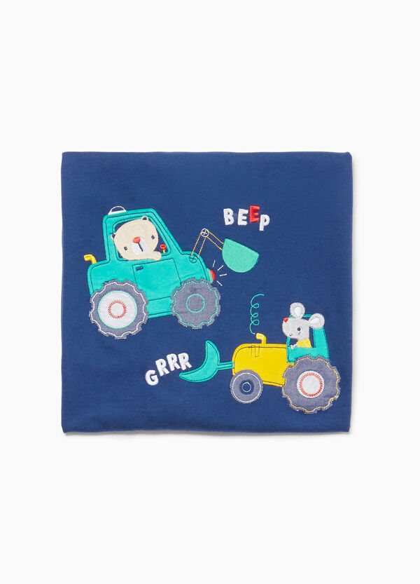Blanket with construction equipment patch