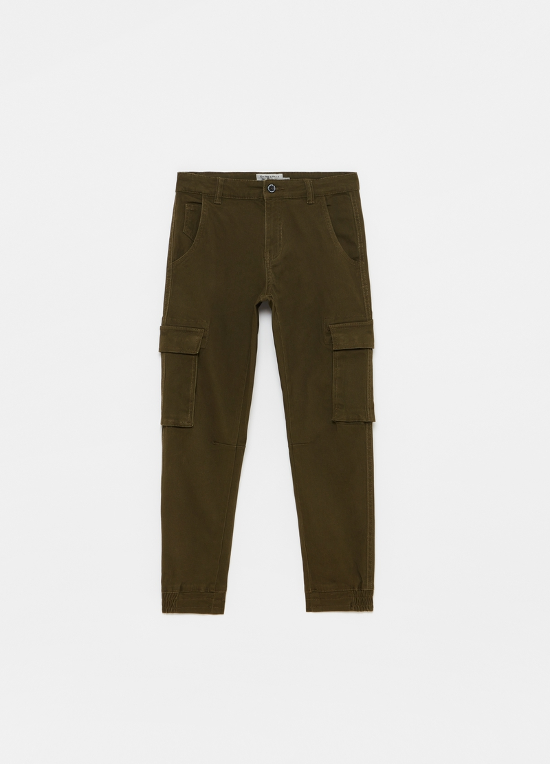 Stretch cotton cargo trousers image number null