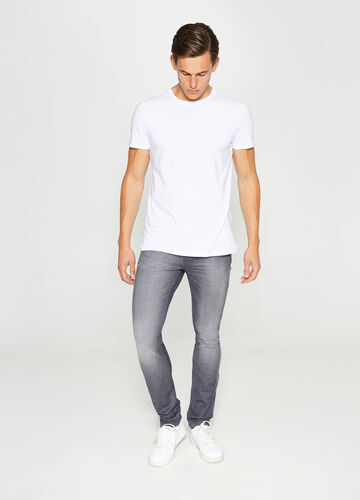 Jeans skinny fit used con baffature