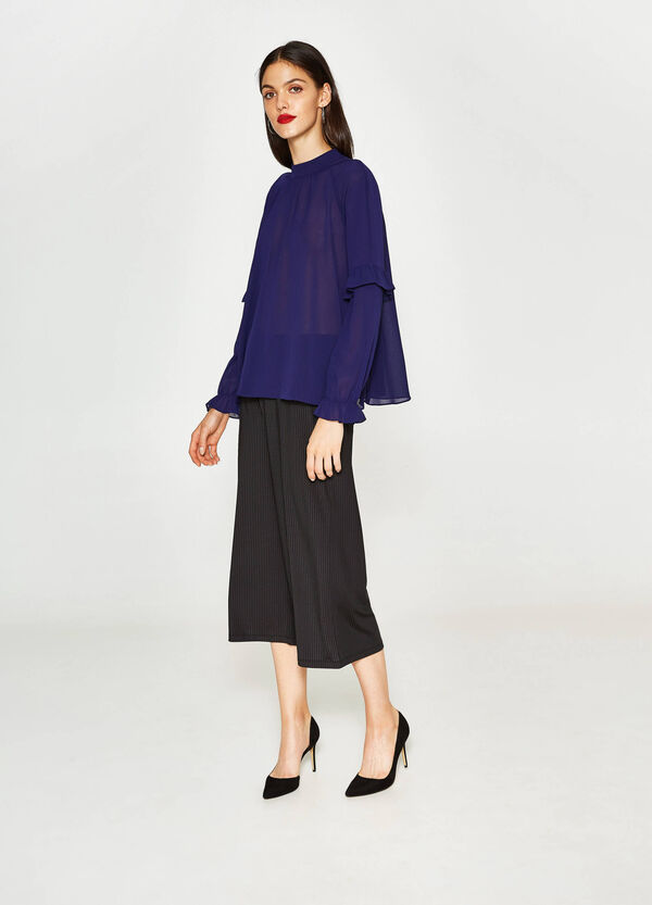 Blouse with raglan sleeves and flounce | OVS