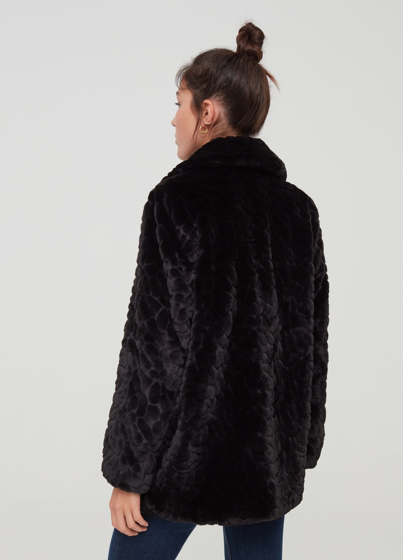 Faux fur coat with raised motif image number null