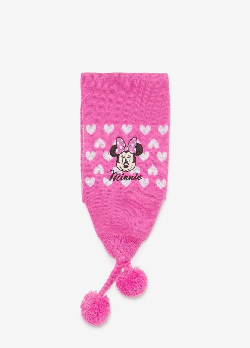 Minnie Mouse scarf with pompoms and patch