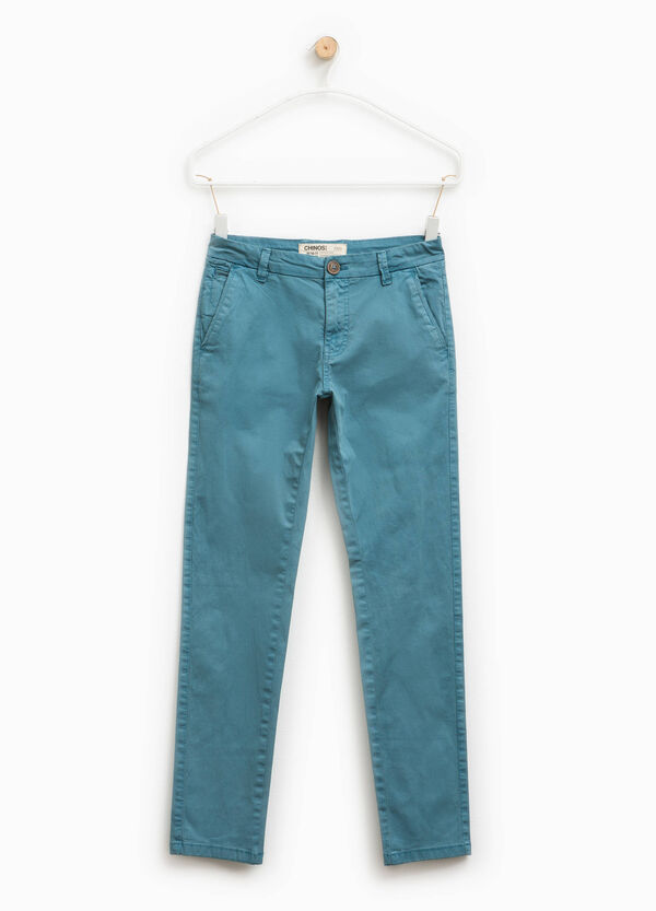 100% cotton chino trousers with zip   OVS