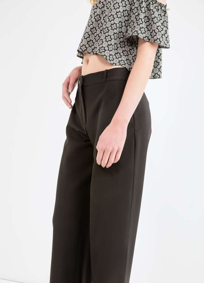 Solid colour viscose trousers image number null