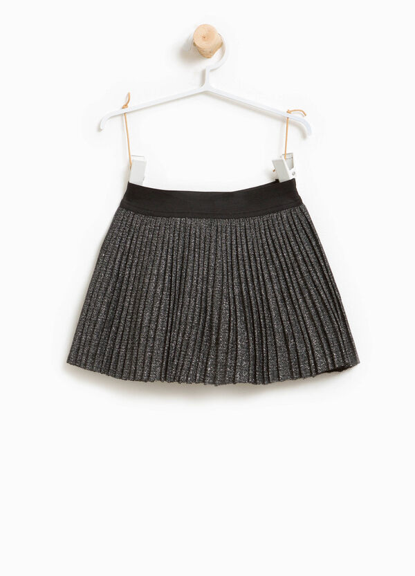 Pleated glitter skirt in viscose