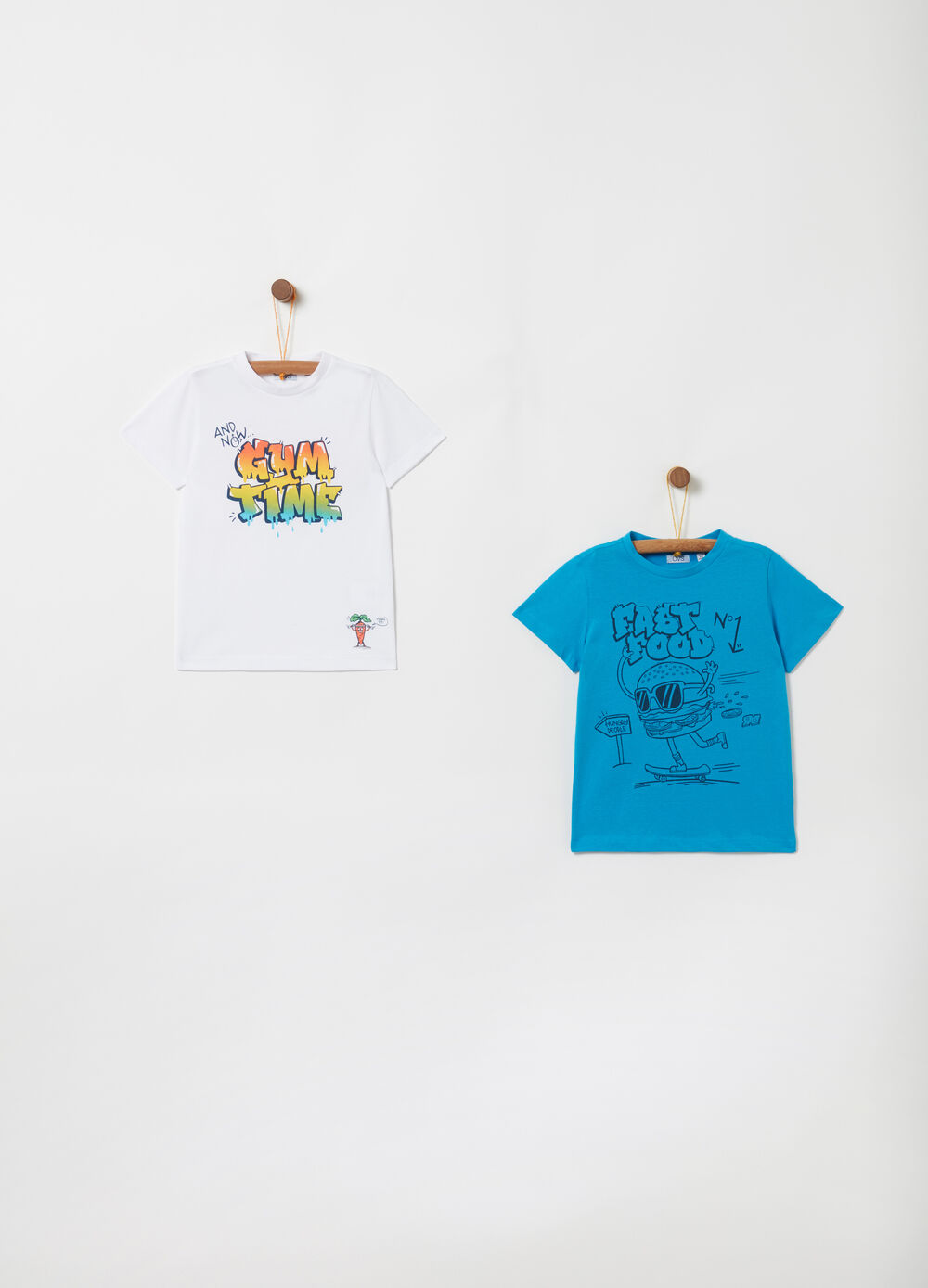 Two-pack T-shirts in cotton with print