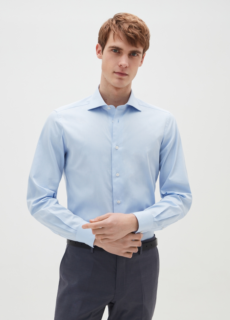 Slim-fit shirt with cut-away collar image number null