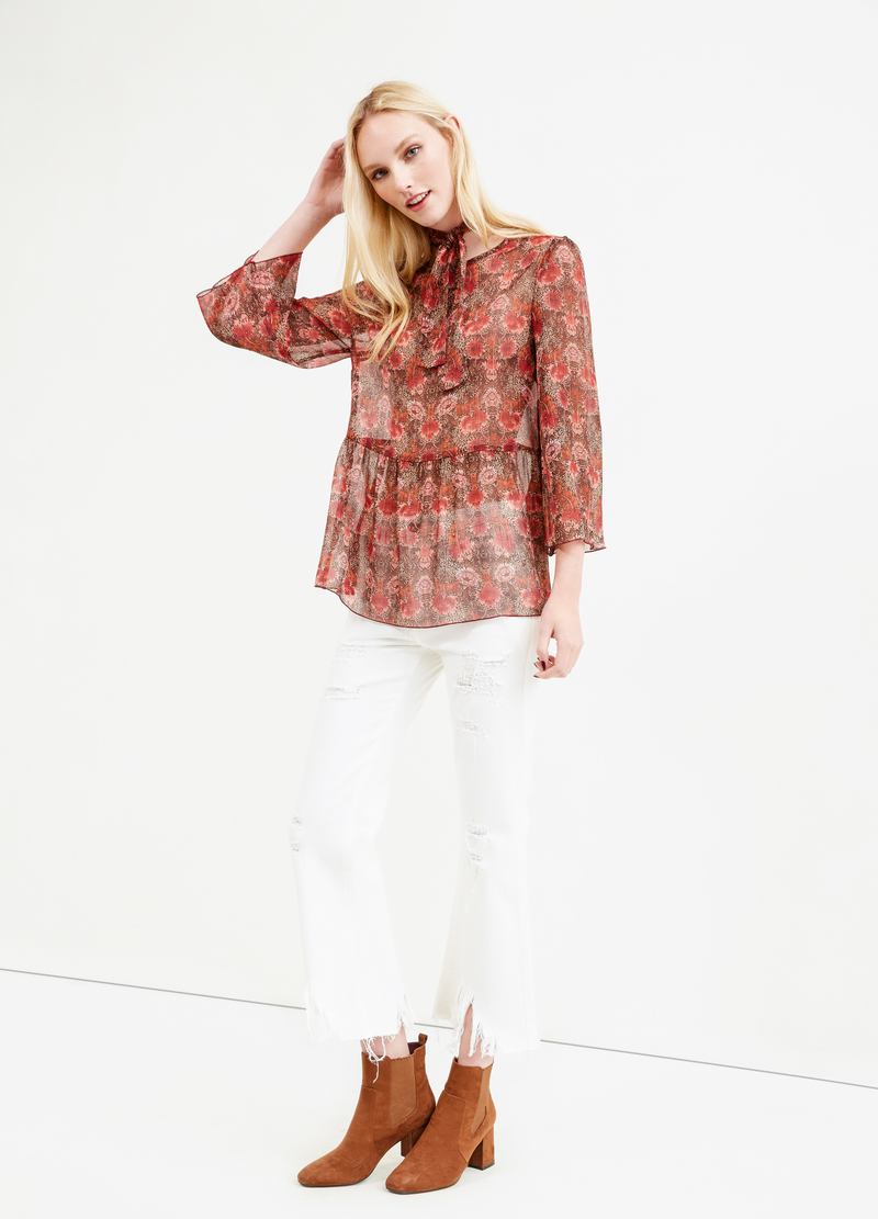 Blusa con laccio stampa floreale all-over image number null