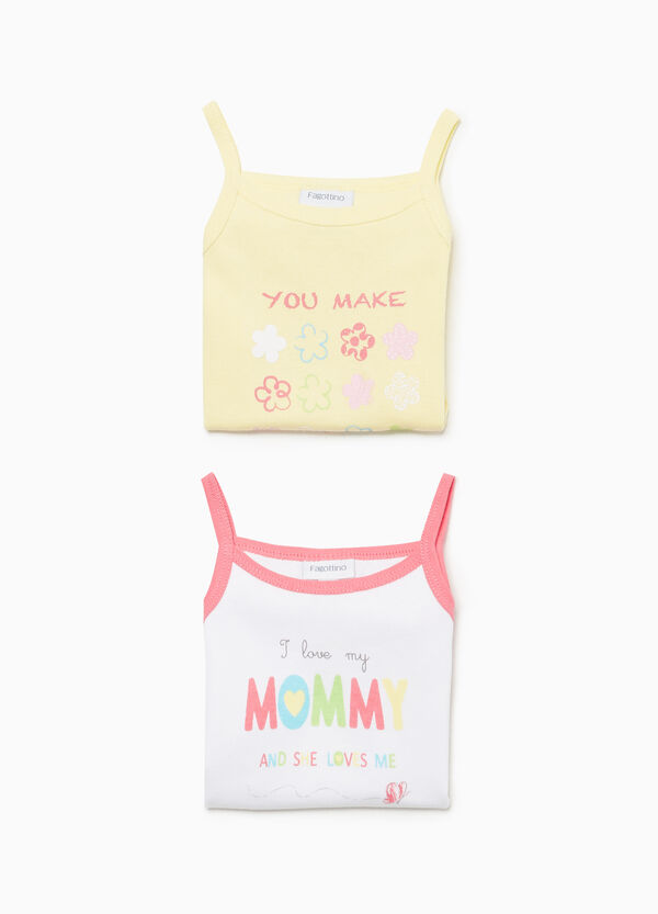 Sleeveless cotton bodysuit with print
