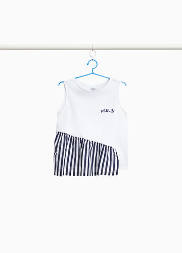 100% cotton top with striped insert
