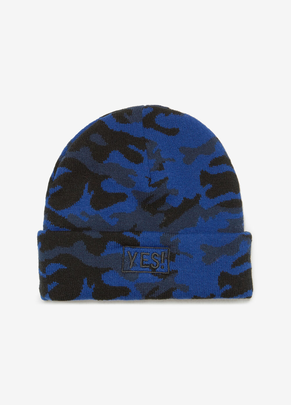 Beanie cap with camouflage embroidery