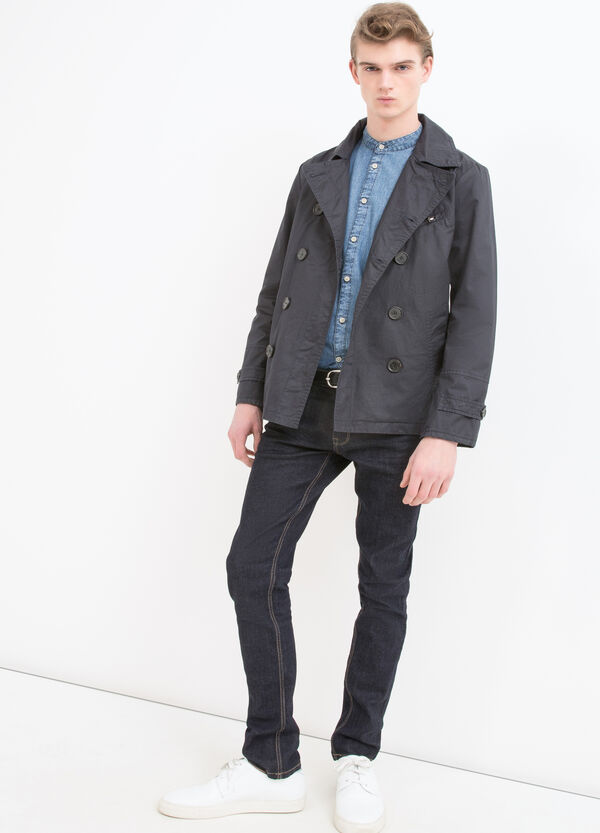 100% cotton double-breasted trench coat | OVS