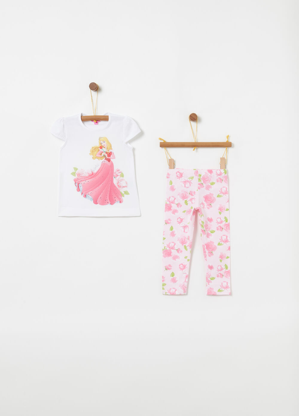 Jogging set t-shirt leggings Disney floreale