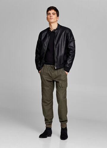 Slim fit cargo pants with drawstring