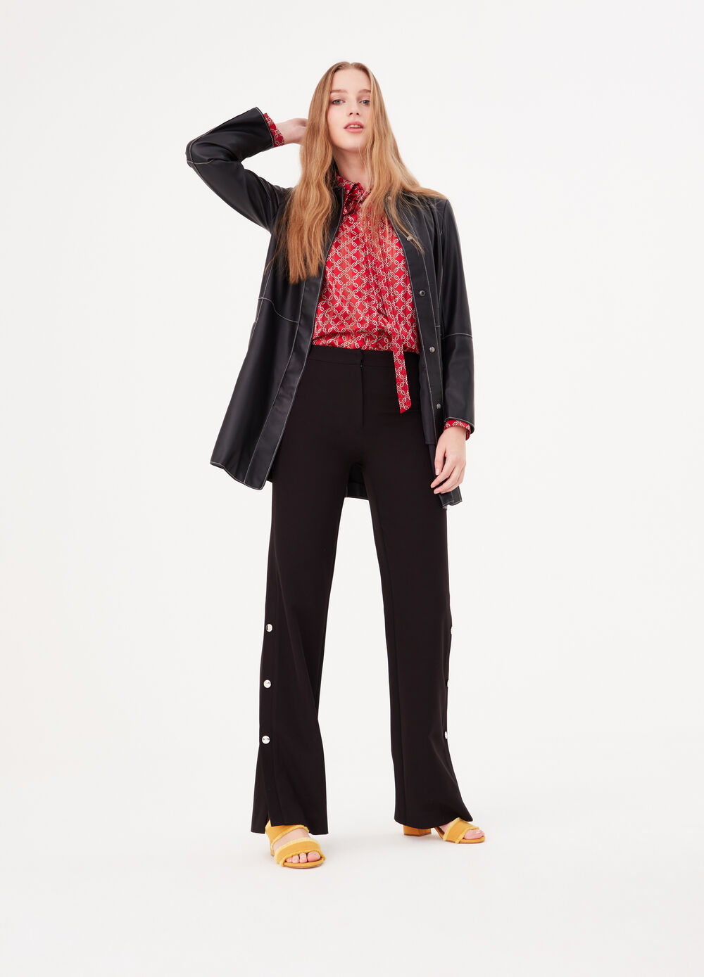Stretch palazzo trousers with buttons