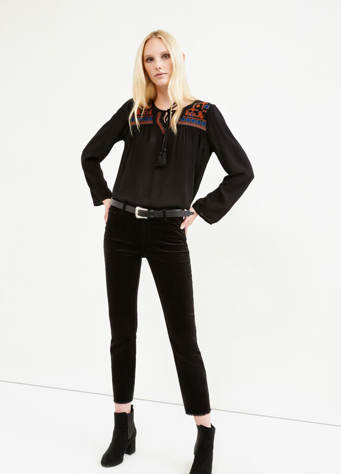 V-neck blouse with ties
