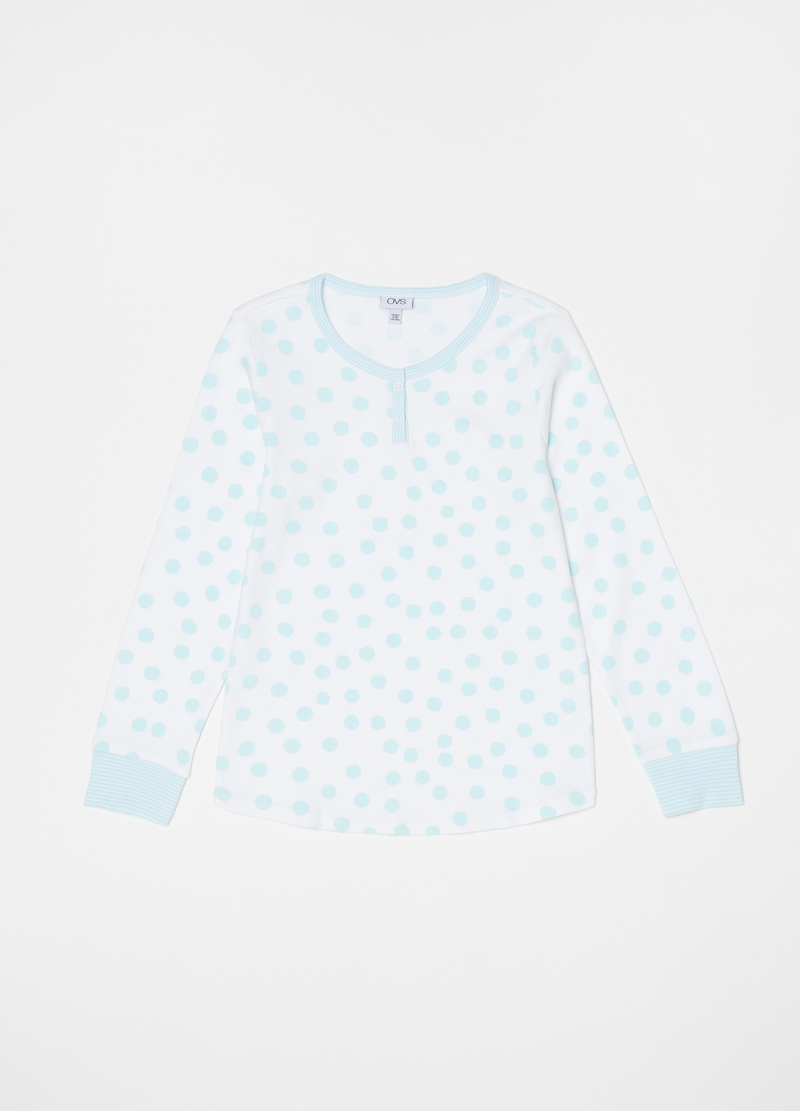 Polka dot and striped pyjamas with granddad collar image number null