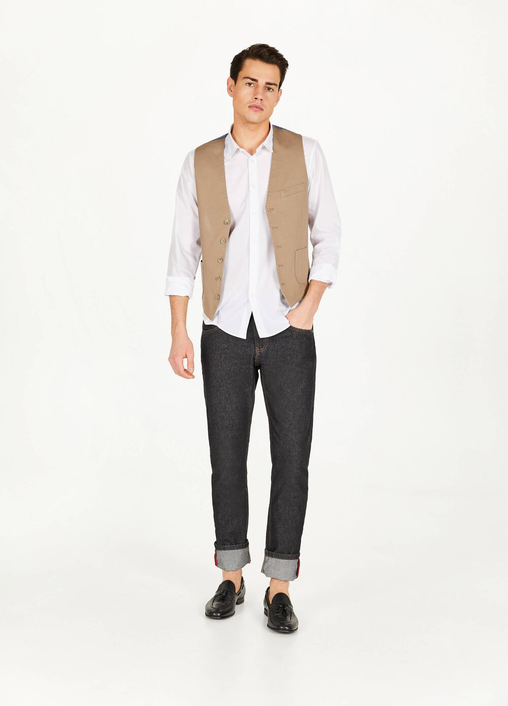 Gilet in two-tone stretch cotton