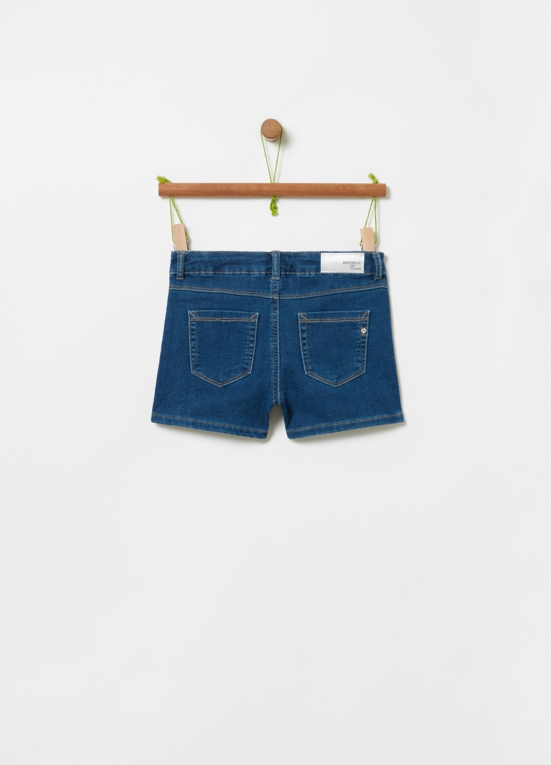 French terry denim shorts image number null
