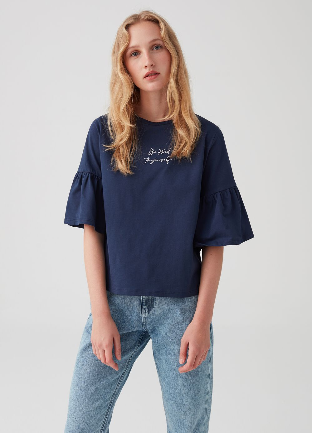 100% cotton T-shirt with flared sleeves