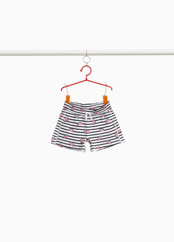 Shorts in cotone stretch righe e angurie