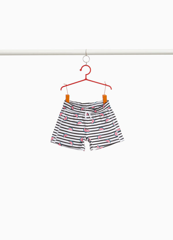 Stretch cotton shorts with stripes and watermelons