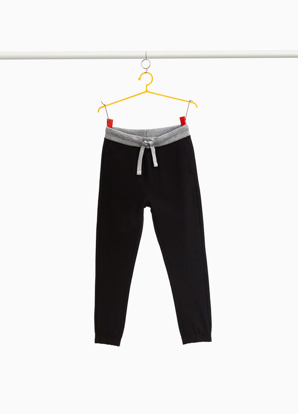 Joggers in 100% cotton with drawstring