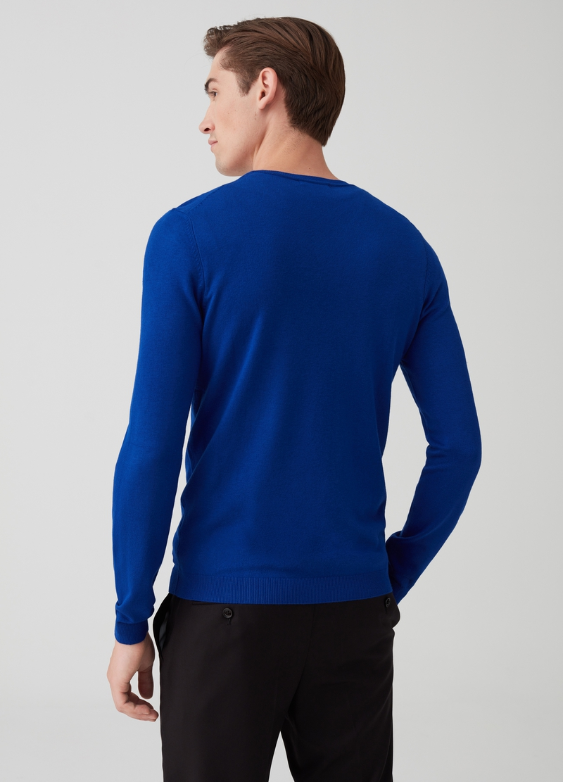 Solid colour ribbed pullover with V neck image number null