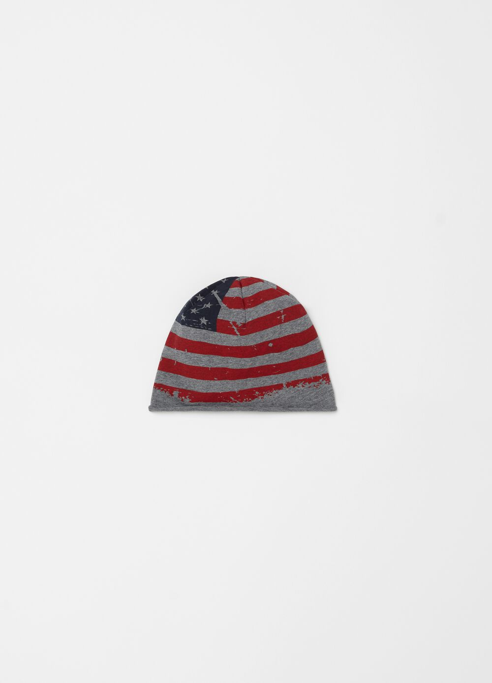 Mélange hat with USA flag print