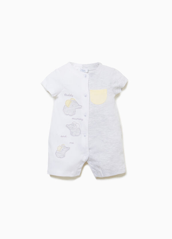 Two-tone romper suit with elephants patch