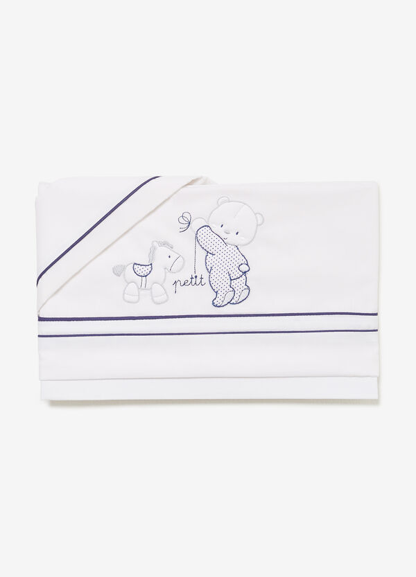 100% cotton crib set with patches and embroidery
