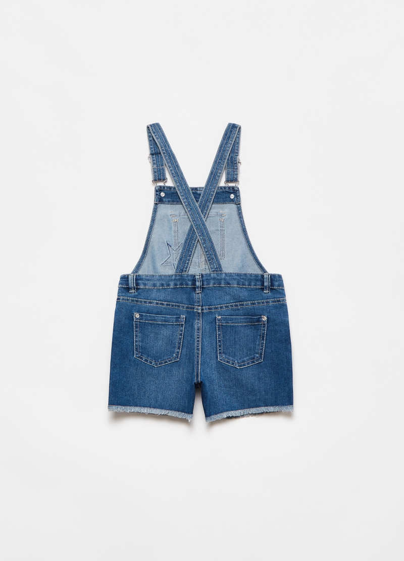 Short dungarees in denim with star image number null