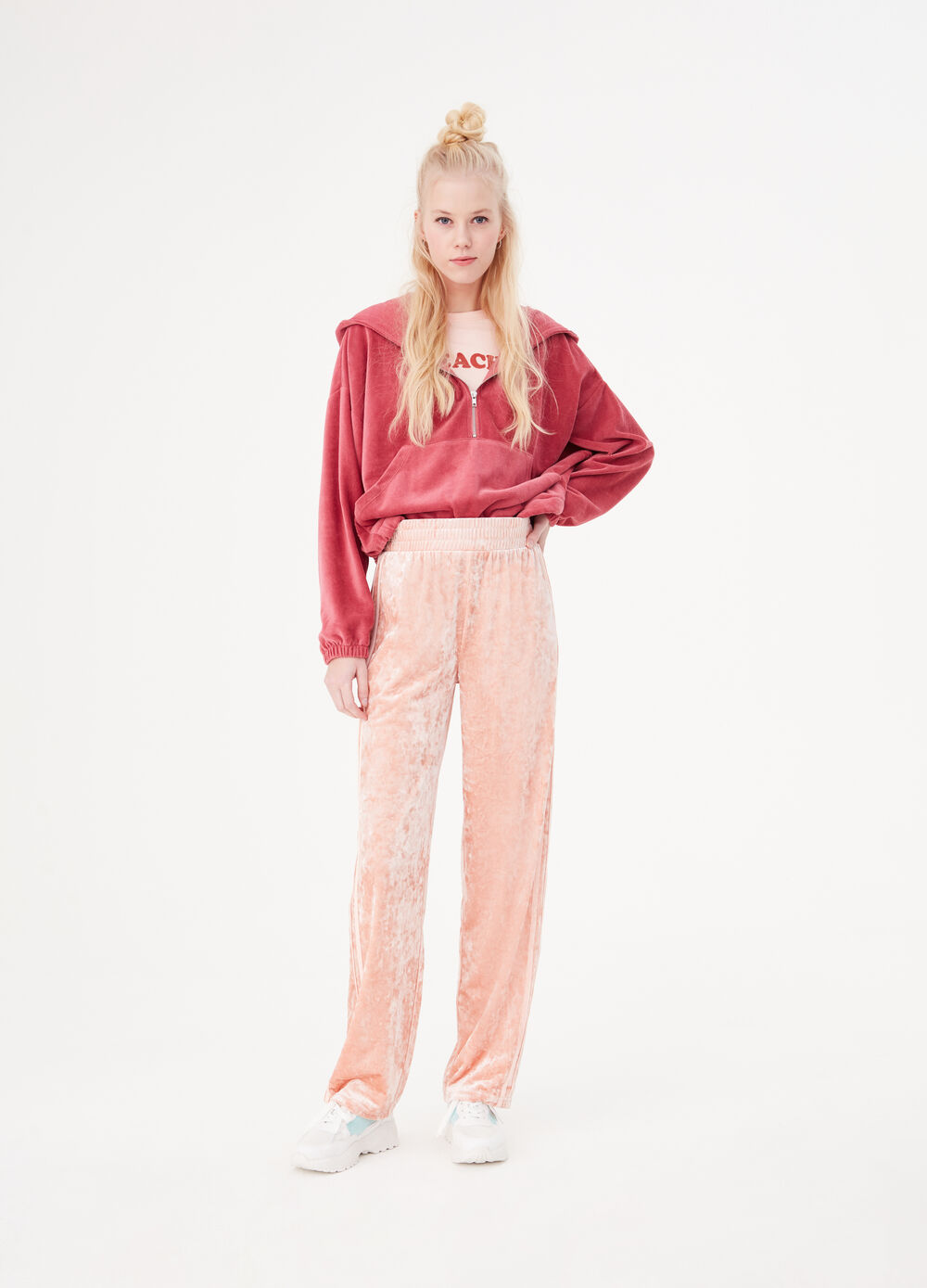 Chenille gym trousers with bands