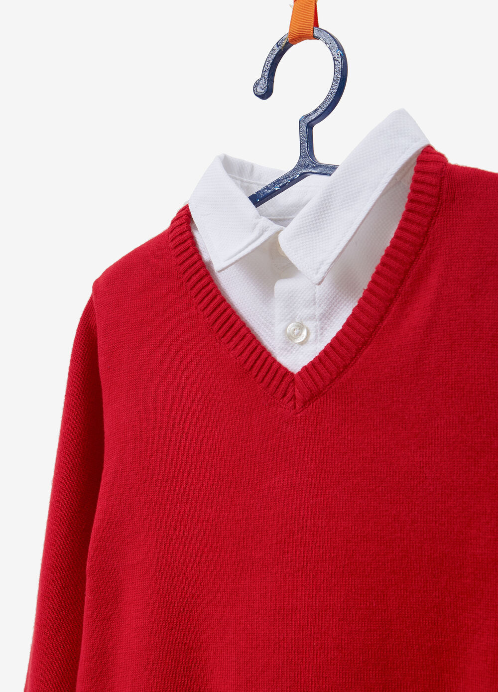 Pullover with faux layered shirt