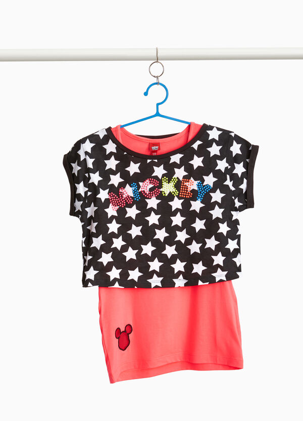 Faux layered T-shirt with Mickey Mouse and stars