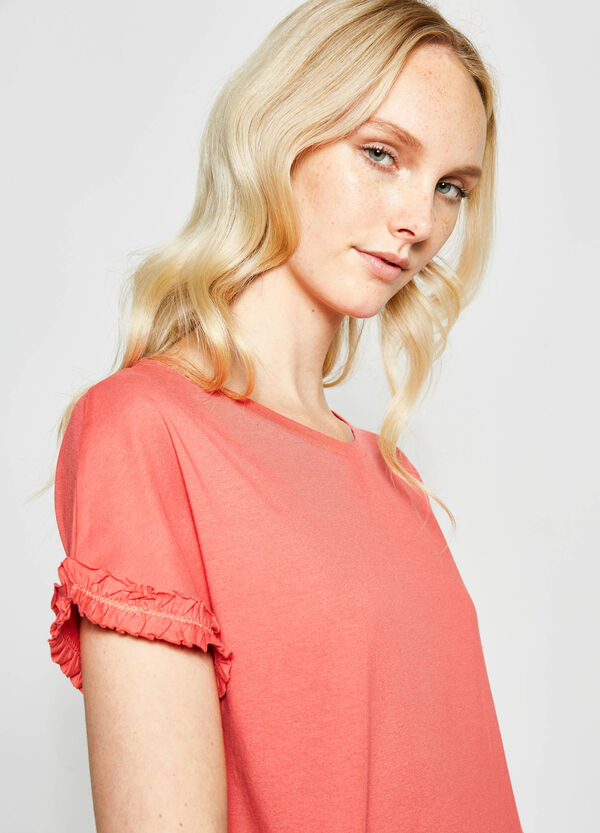 Cotton T-shirt with flounces | OVS