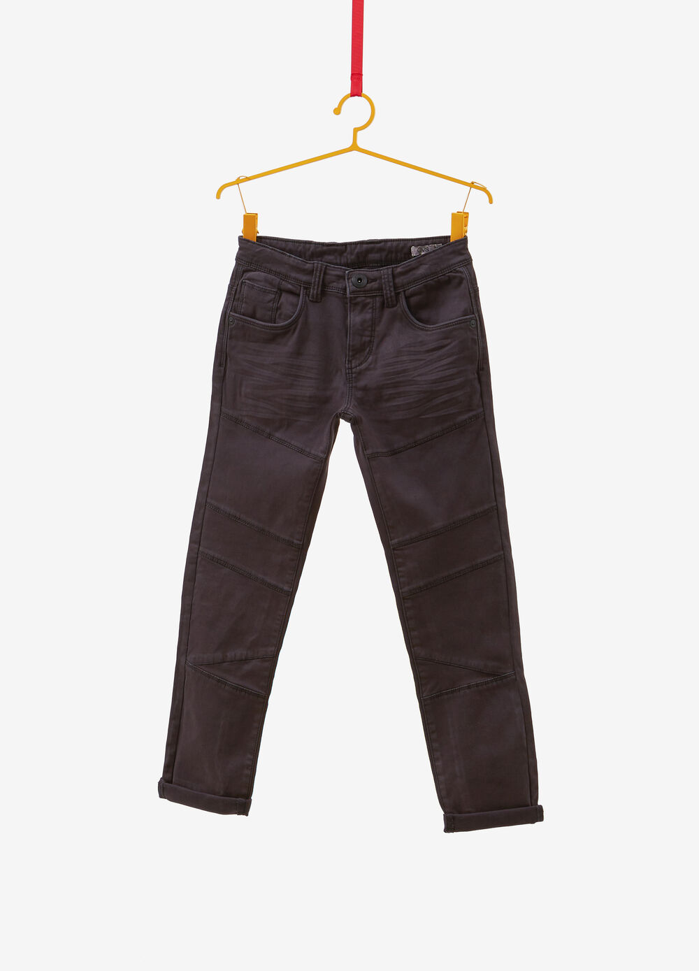 Stretch cotton trousers with whiskering