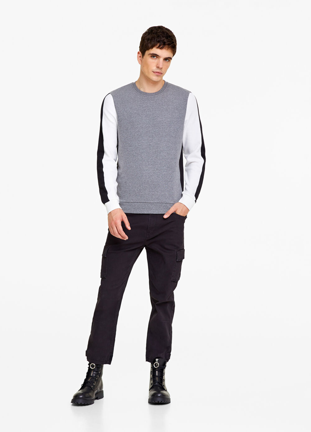 Two-colour chenille sweatshirt with bands