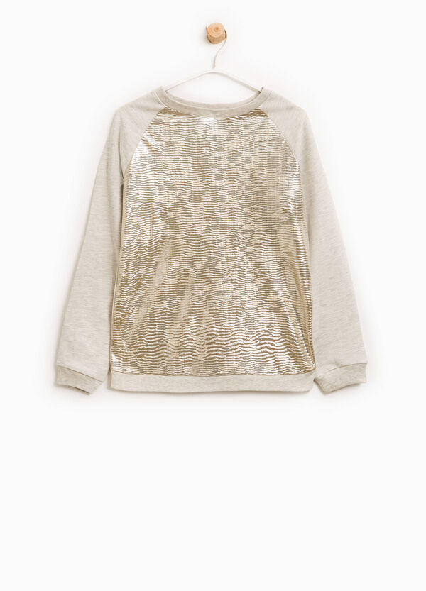 Cotton sweatshirt with raised weave | OVS