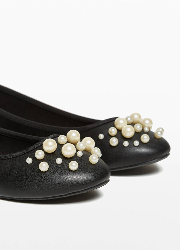 Textured-effect ballerina flats with beads