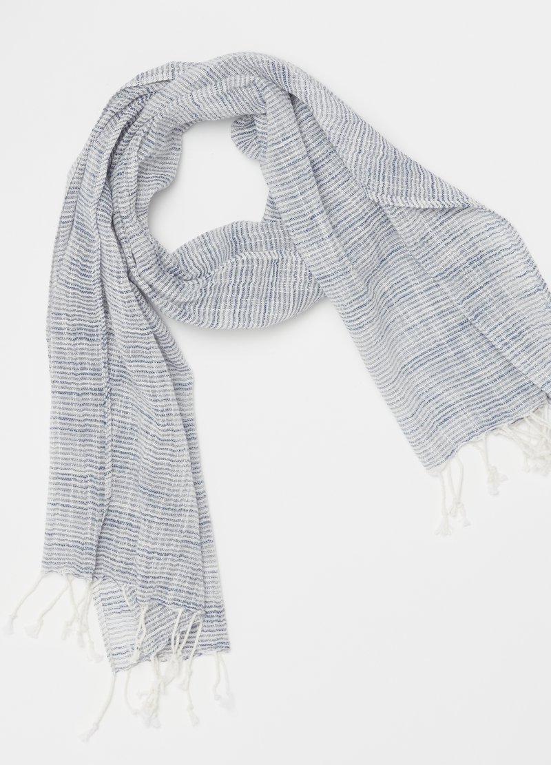 Striped pashmina in 100% cotton image number null