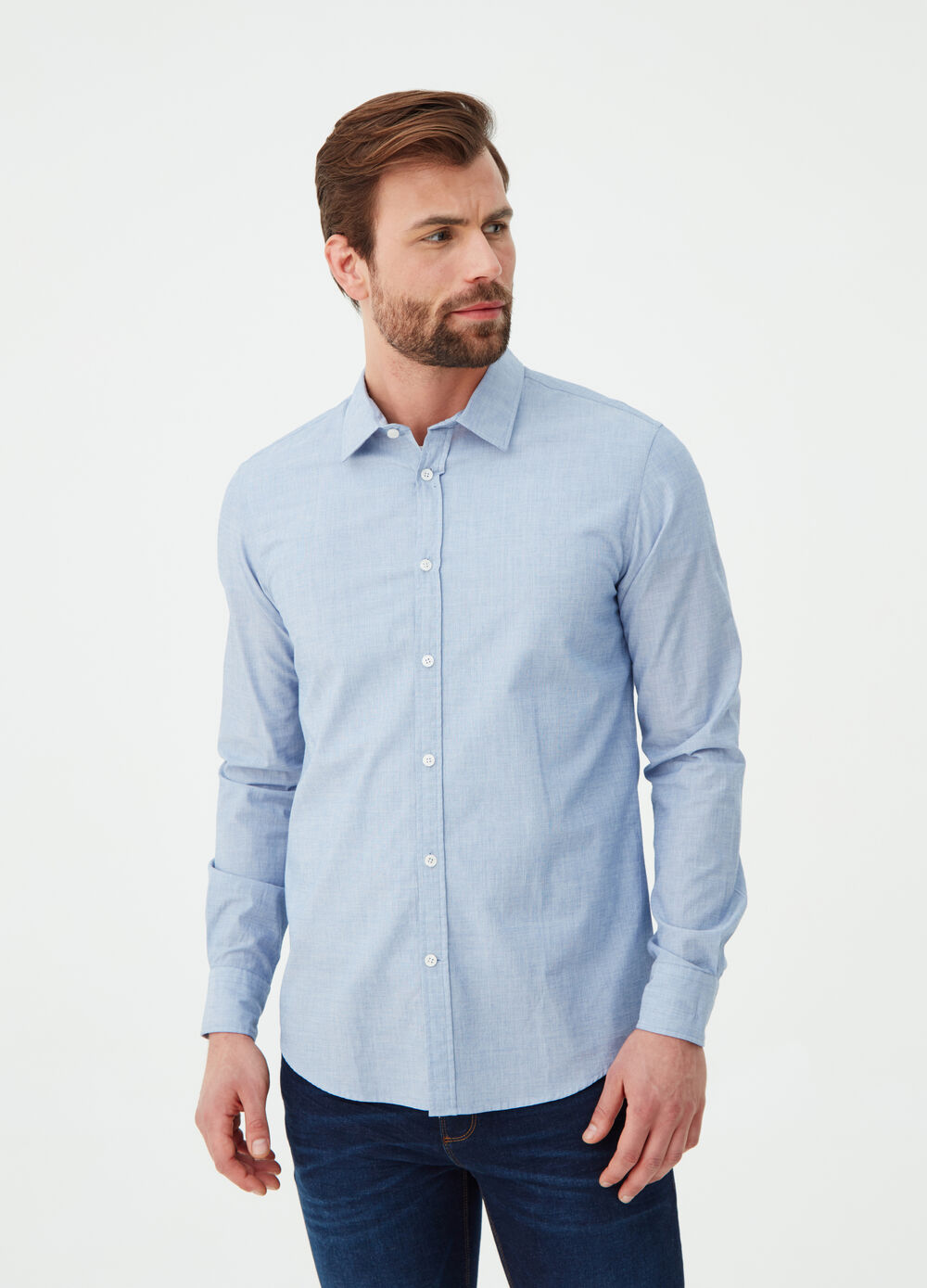 Camicia fil-a-fil regular fit colletto classico