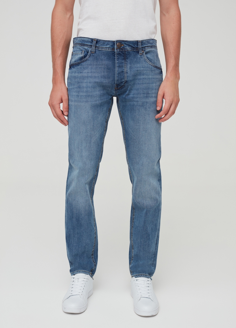 Slim-fit washed and misdyed-effect jeans image number null