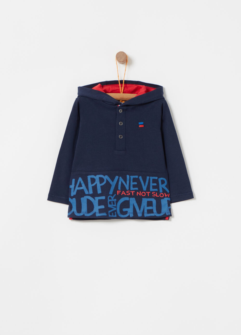 Polo with hood and printed lettering