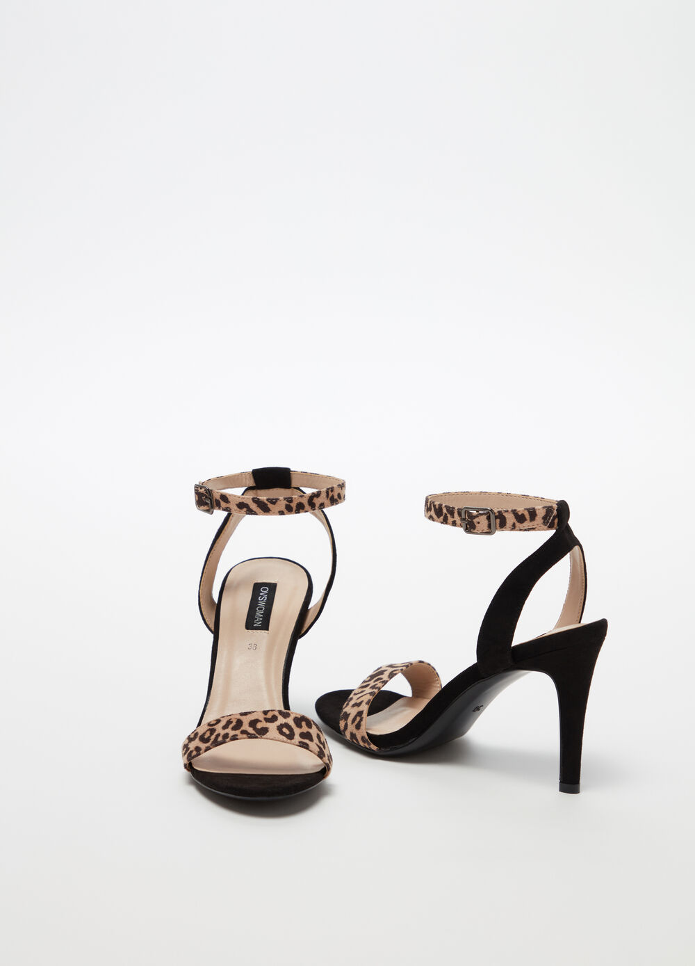 Sandals with animal print strap