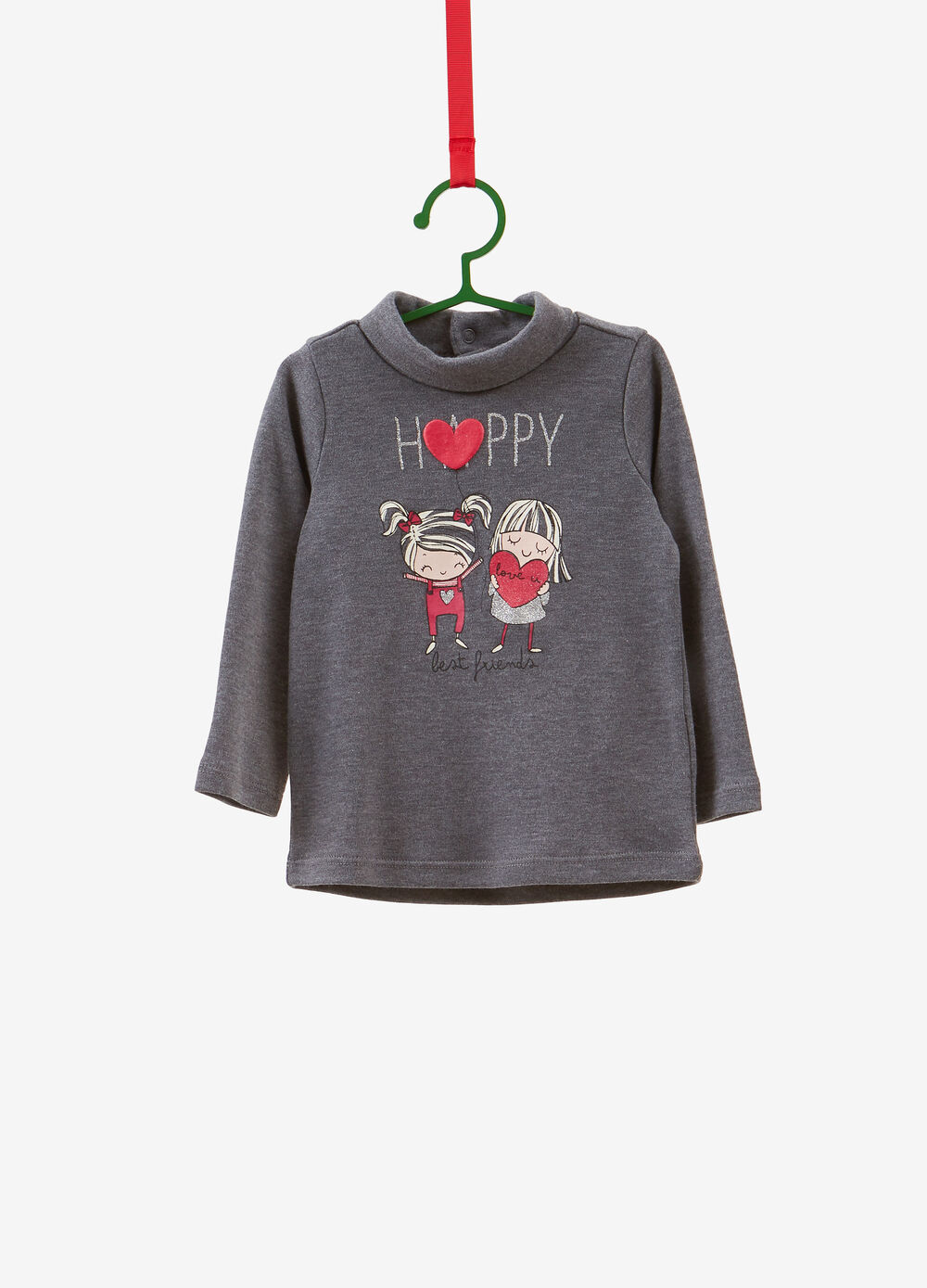 Turtleneck jumper in 100% cotton with glitter girl print