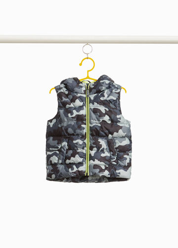 Quilted waistcoat with camouflage pattern