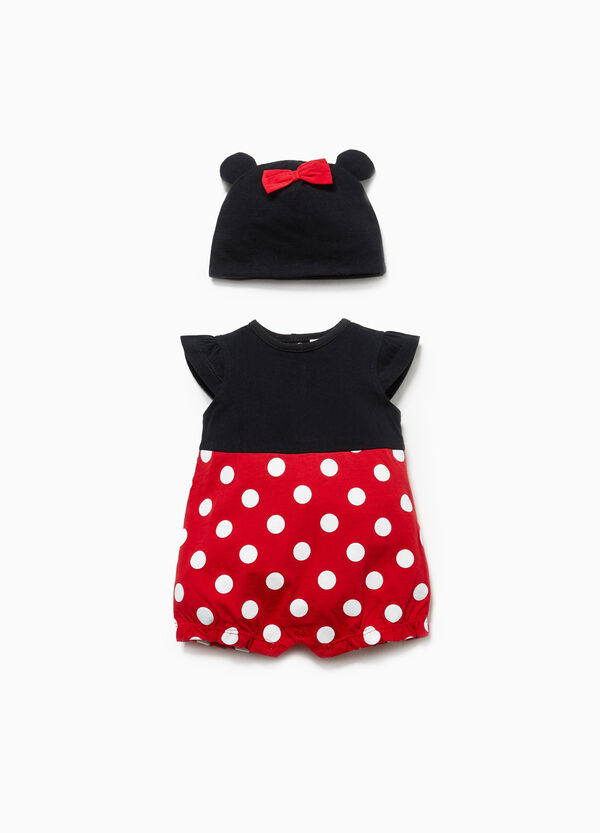 Minnie Mouse polka dot hat and romper set