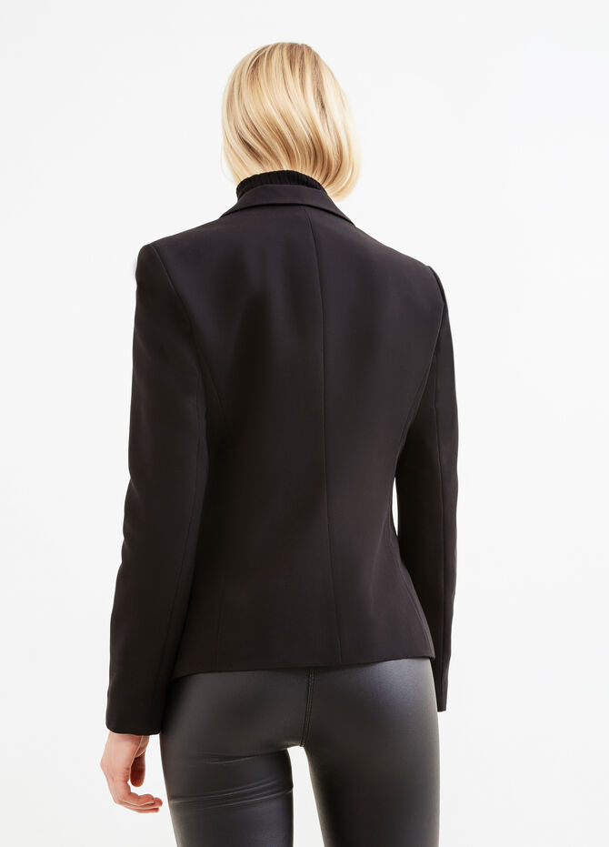 Stretch viscose blazer with two-button fastening
